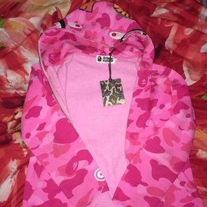 Bathing Ape Pink Camouflage Zipper Hoodie